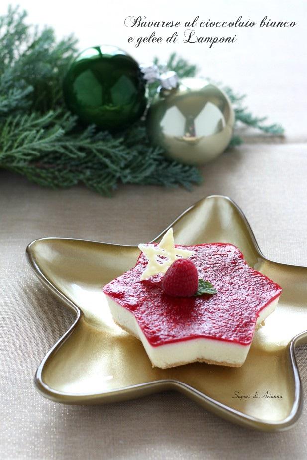 Bavarese al cioccolato bianco con gelèe ai lamponi, dolce natalizio