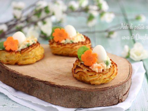 Nidi di patate con uova di Quaglia | Antipasto di Pasqua