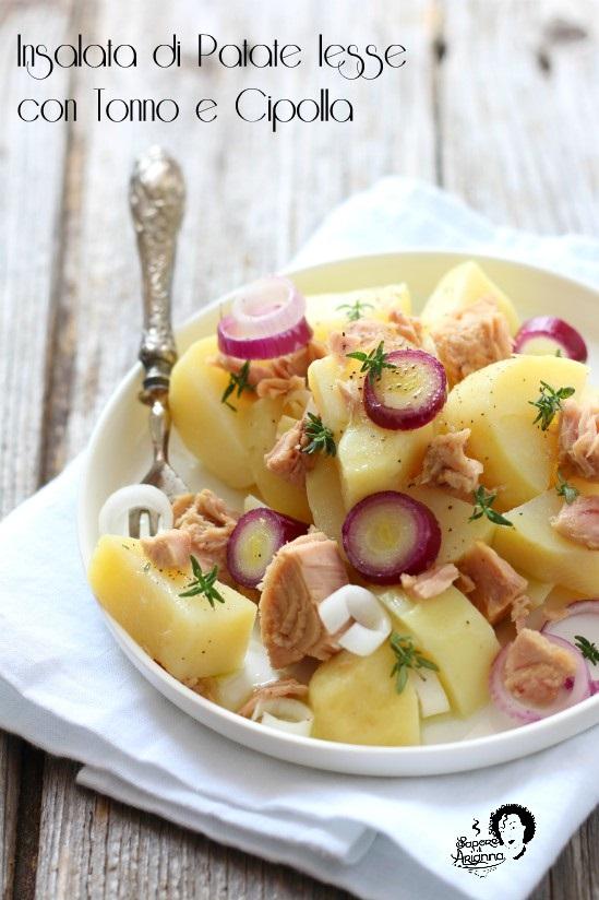 insalata di patate lesse con tonno e cipolla