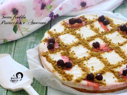 Torta fredda Pistacchio e Amarene senza colla di pesce