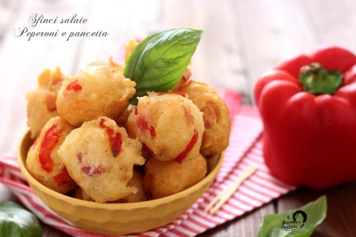 sfinci salate peperoni e pancetta senza lievitazione