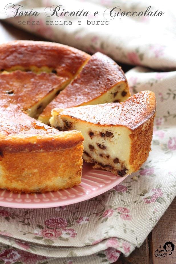 Torta ricotta e cioccolato senza farina e burro