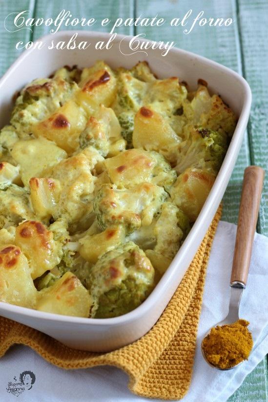 cavolfiore e patate al forno con salsa al curry