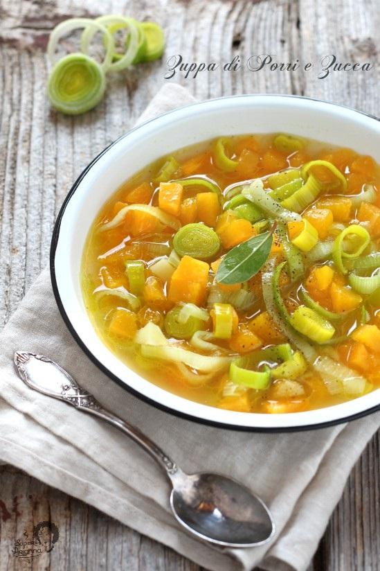 zuppa di porri e zucca leggera