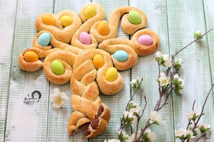 albero della vita dolce di Pasqua pan brioche e Nutella