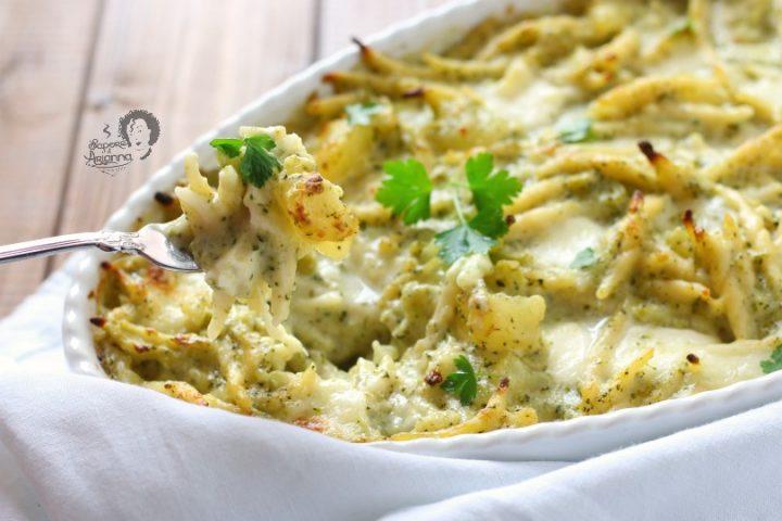pasta con broccoli e patate al forno senza besciamella