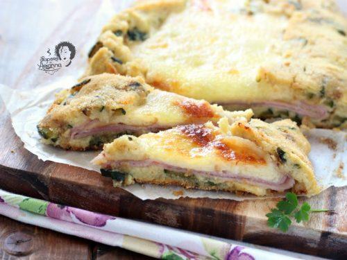 GATEAU PIZZA patate e zucchine con prosciutto e formaggi