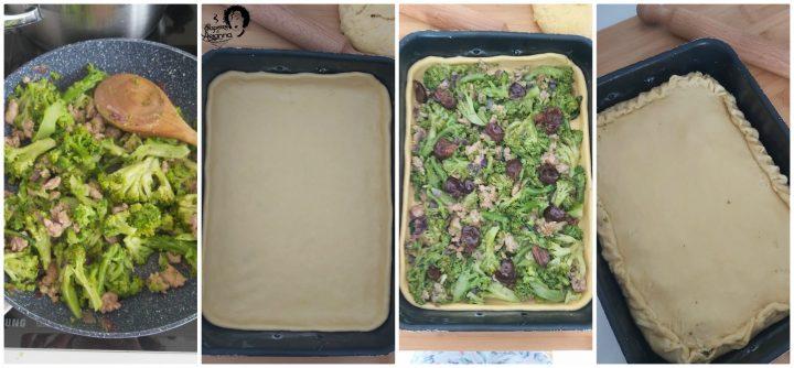 pizza ripiena broccoli e salsiccia