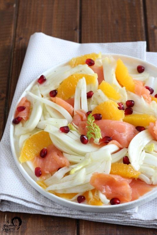 insalata autunnale con salmone finocchi e arancia