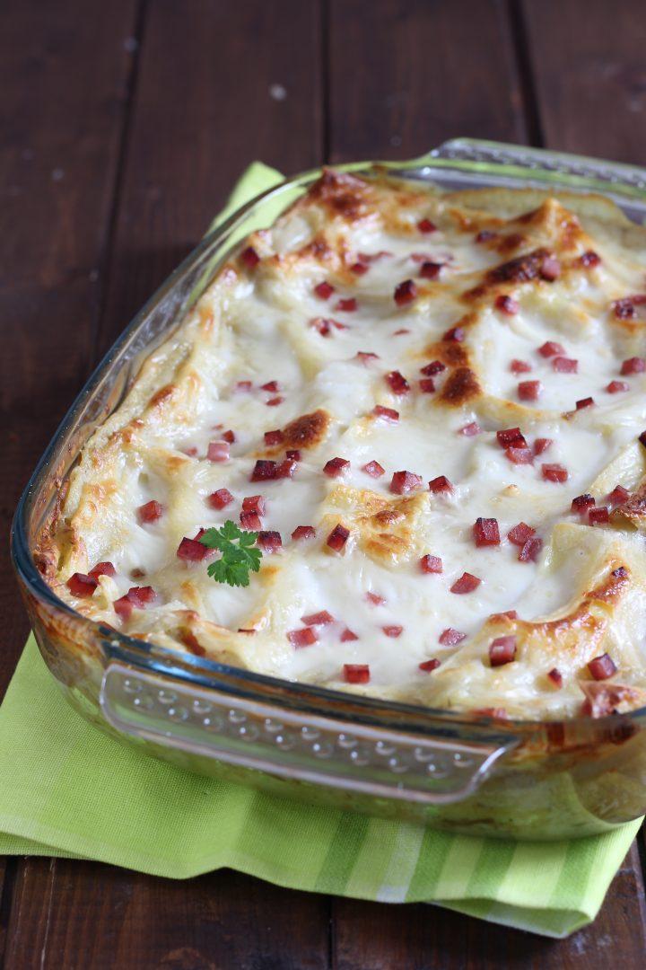 lasagne con crema di carciofi surgelati e prosciutto