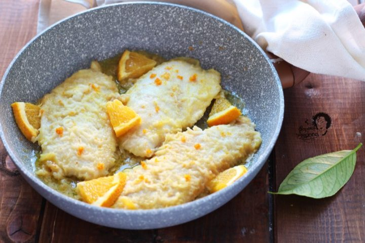 petto di pollo all'arancia in padella