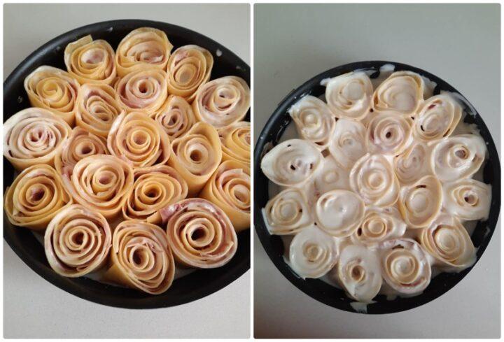 rose di lasagne ripiene al forno con prosciutto