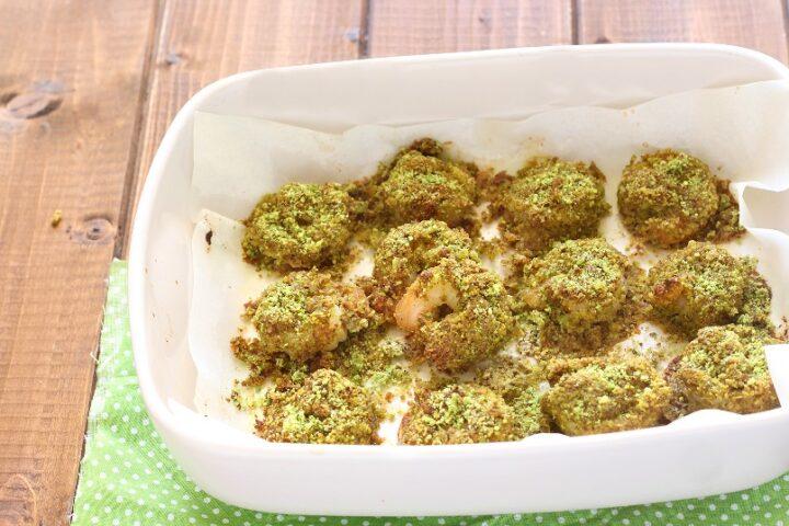 gamberi surgelati gratinati al pistacchio al forno