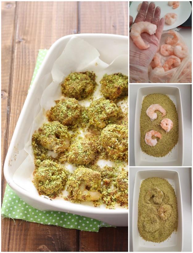 gamberoni urgelati gratinati al forno al pistacchio