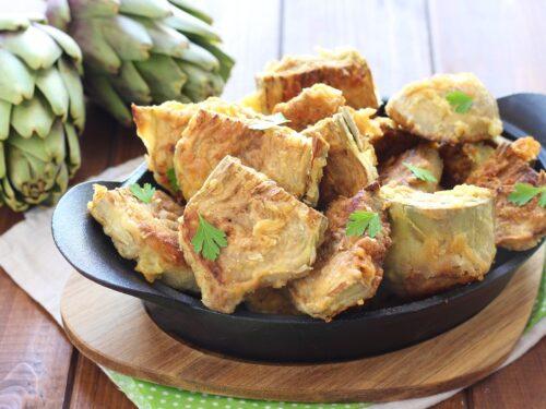 Carciofi fritti con farina senza pastella