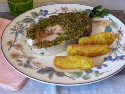 Salmone fresco gratinato al forno