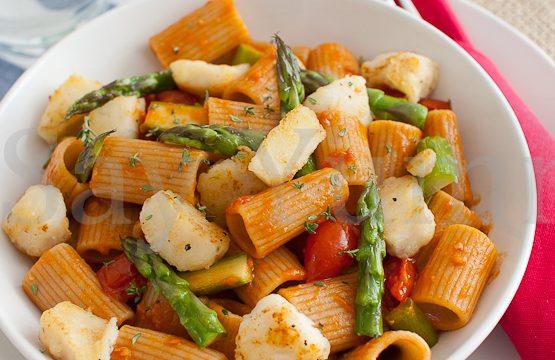 Pasta integrale con nasello e asparagi- Primo leggero