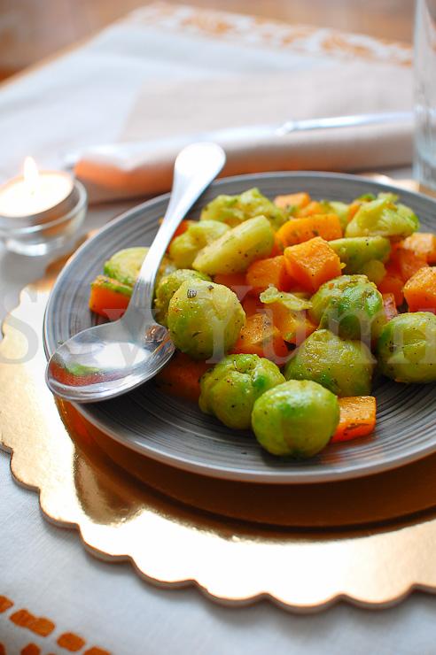 Broccoletti di Bruxells con zucca e patate