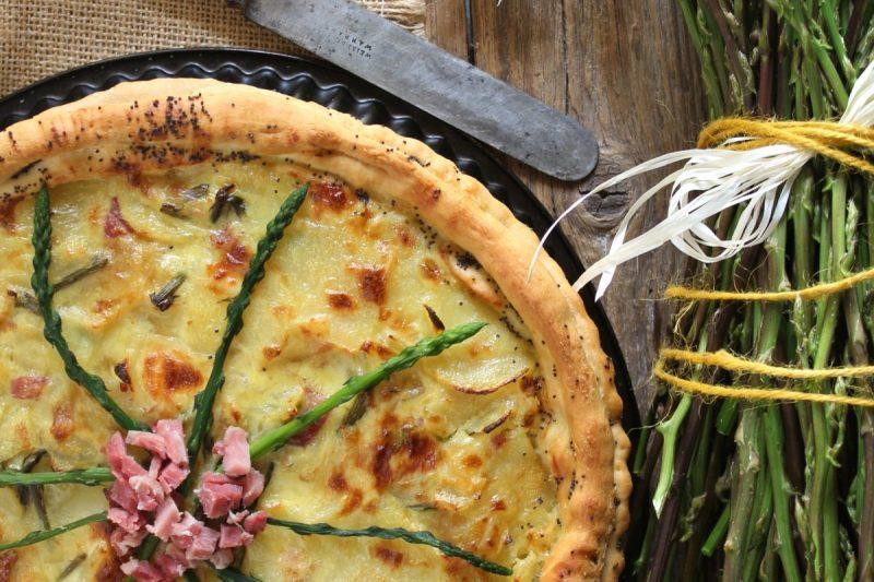 Torta rustica patate asparagi e prosciutto – senza burro –
