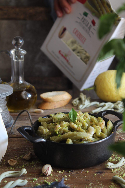 caserecce al pistacchio e gamberetti