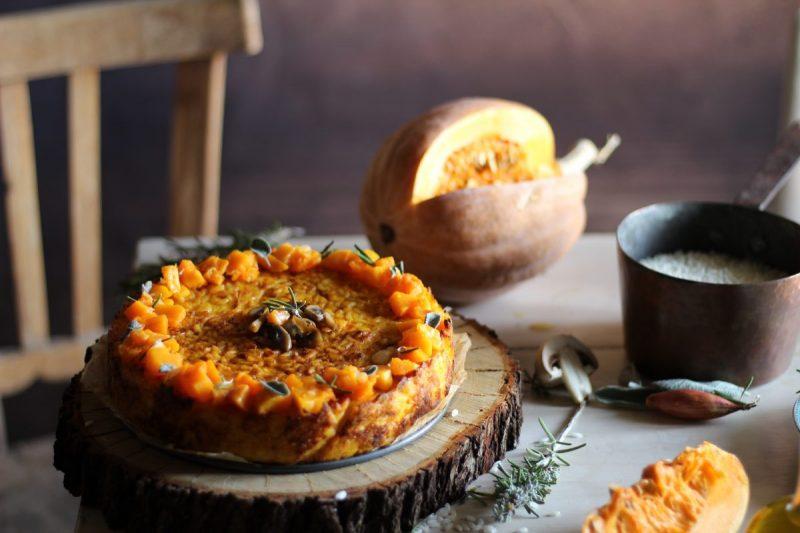 Torta di riso, zucca e funghi….gustosa e scenografica