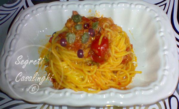 spaghetti capperi olive
