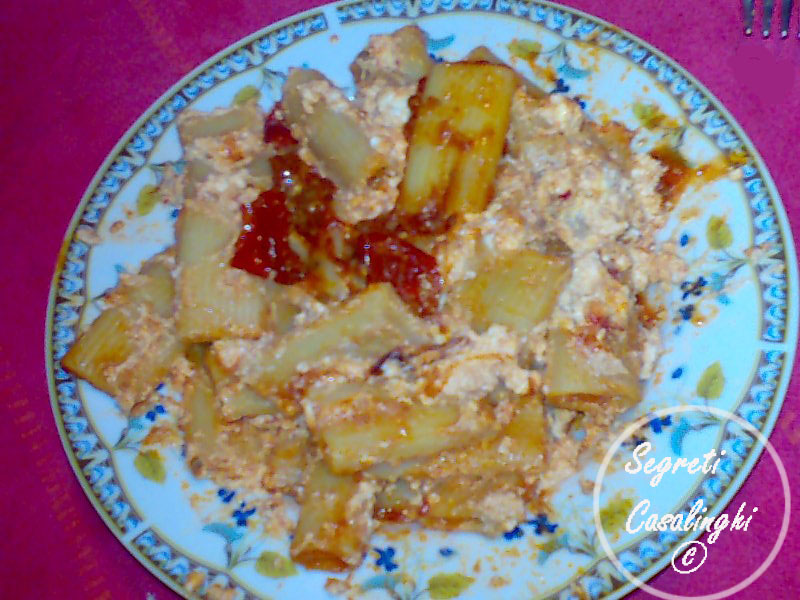 zitoni pasta salsa ricotta