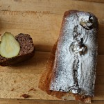Plum-cake al cacao ,panna e pere