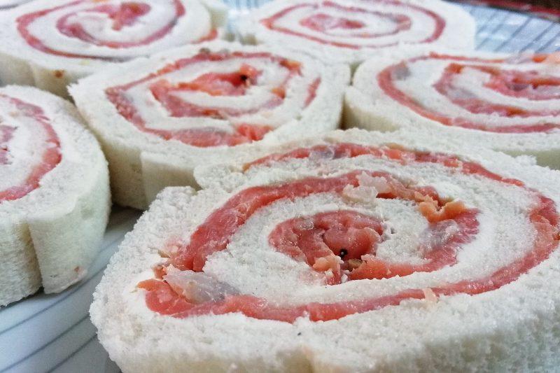Girelle con salmone e gamberetti