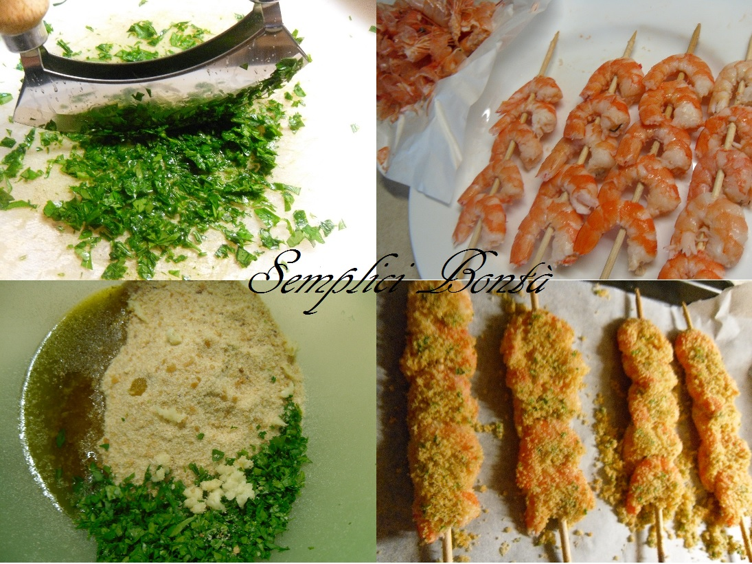 Spiedini di gamberi gratinati ricetta facile for Spiedini di pesce gratinati