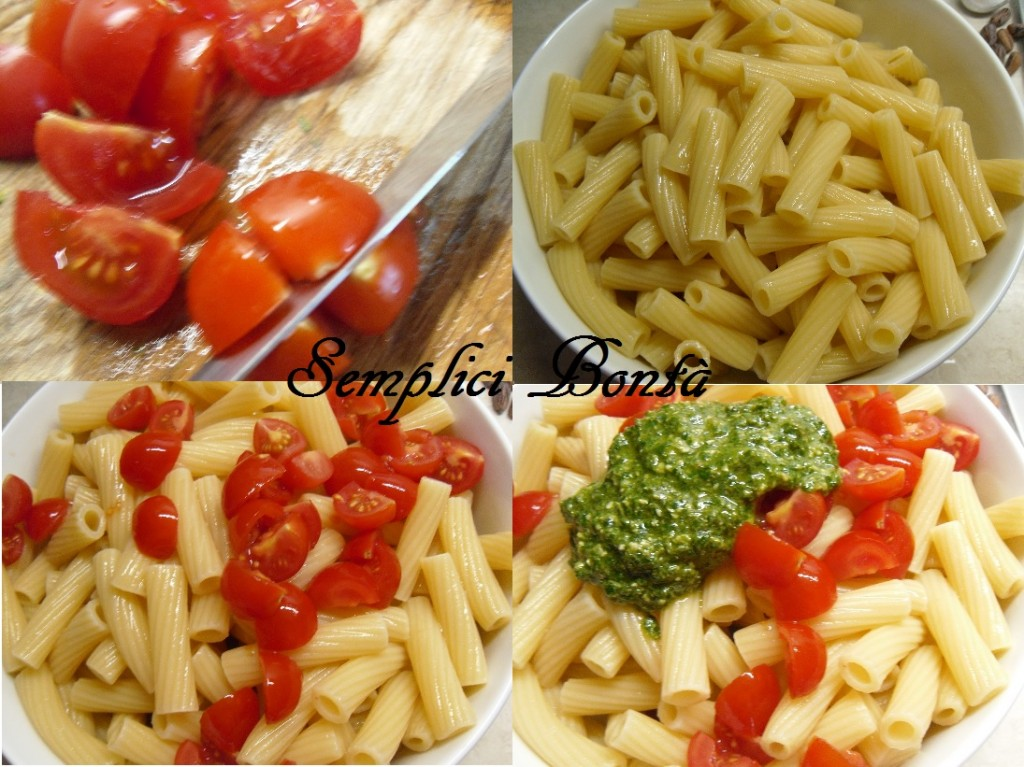 insalata di pasta pesto e pomodorini