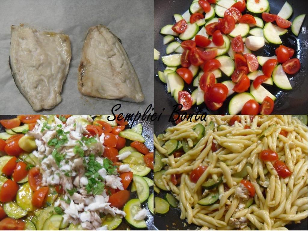 Strozzapreti con branzino , zucchine e pomodorini