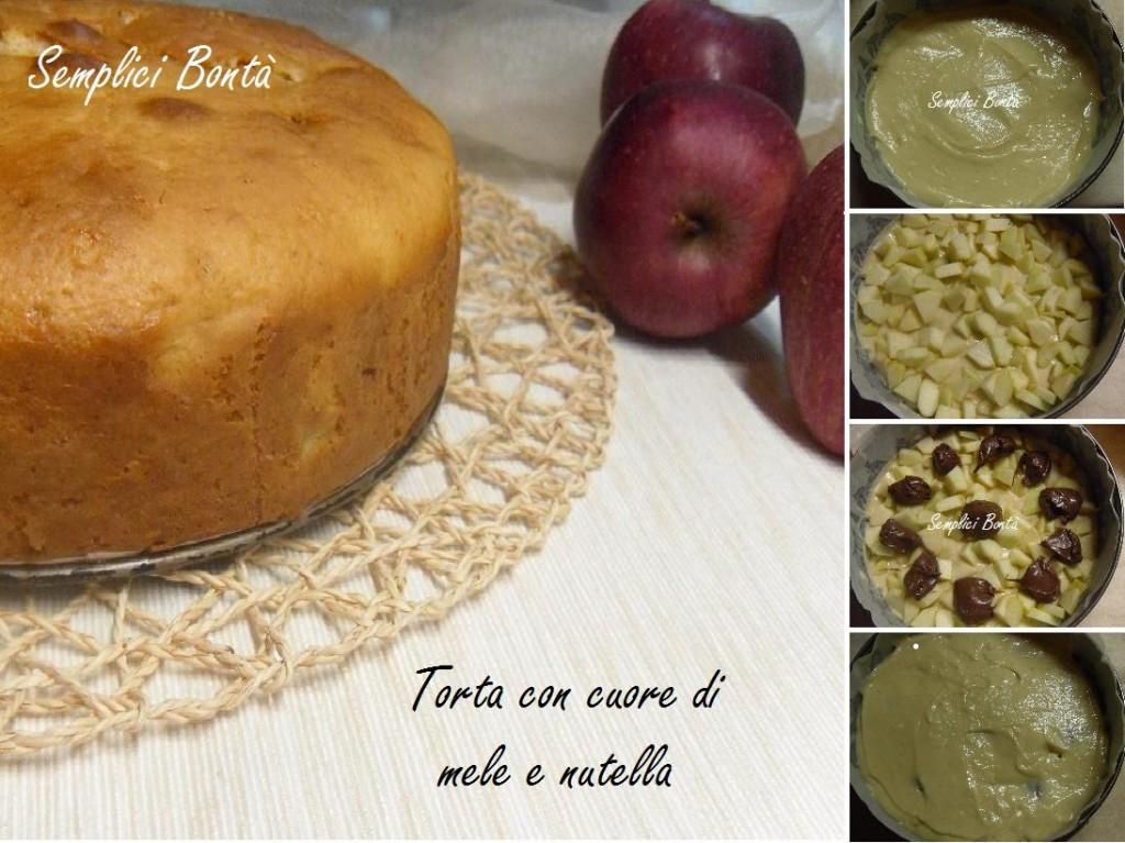 torta con cuore di mele e nutella