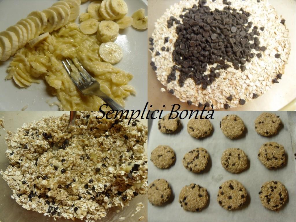 biscotti fiocchi d' avena banana e cioccolato