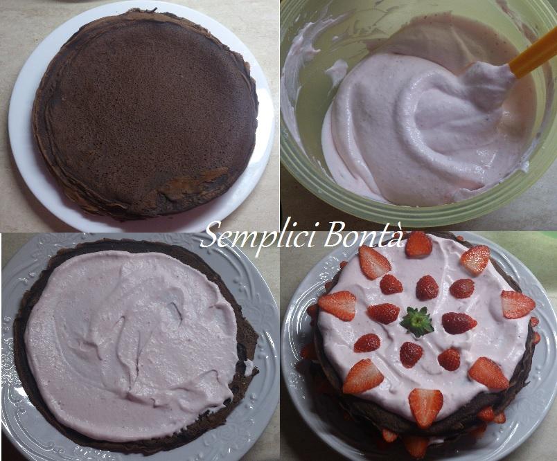 torta di crepes panna e fragole