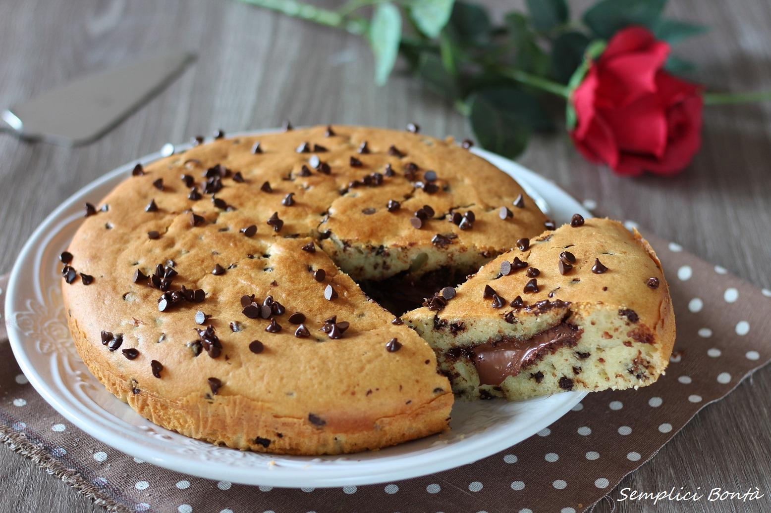 torta con gocce di cioccolato e nutella