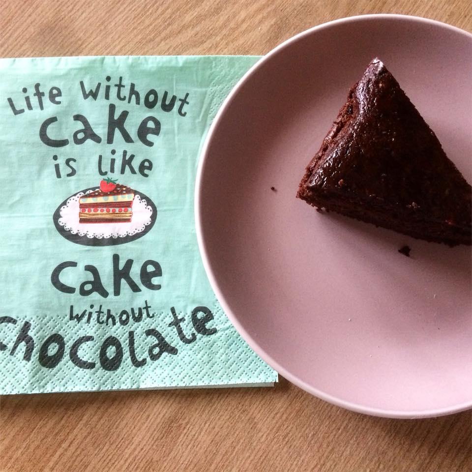 Torta cacao e crema di cachi senza glutine, lattosio e uova