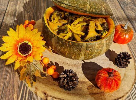 Tagliatelle con funghi e crema di zucca al parmigiano.