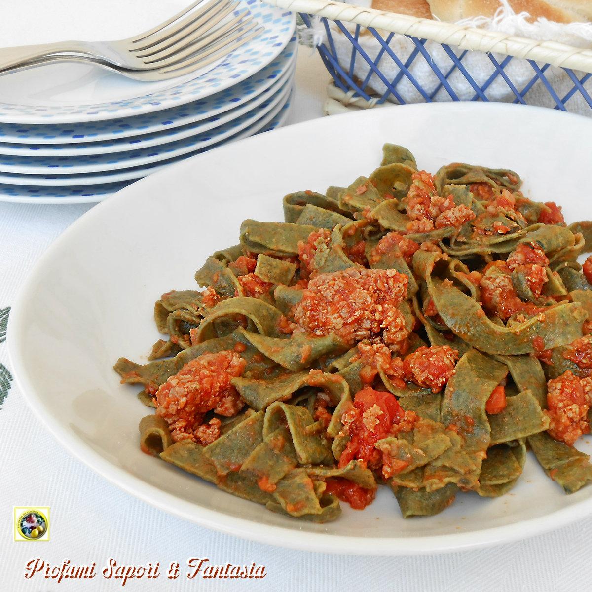 Tagliatelle verdi al sugo di carne Blog Profumi Sapori & Fantasia