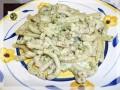 Pasta al kamut con pesto prosciutto cotto e gorgonzola