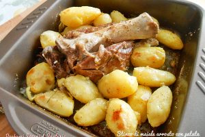 Stinco di maiale arrosto con patate