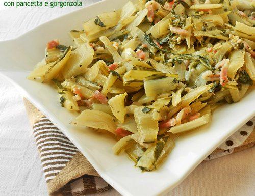 Coste bieta saltate con pancetta e gorgonzola