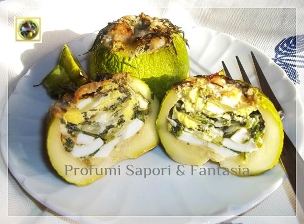 Zucchine tonde ripiene con agretti uova sode e mozzarella  Blog Profumi Sapori & Fantasia