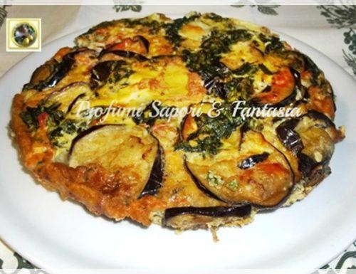 Tortino di melanzane al forno con spinaci e mozzarella
