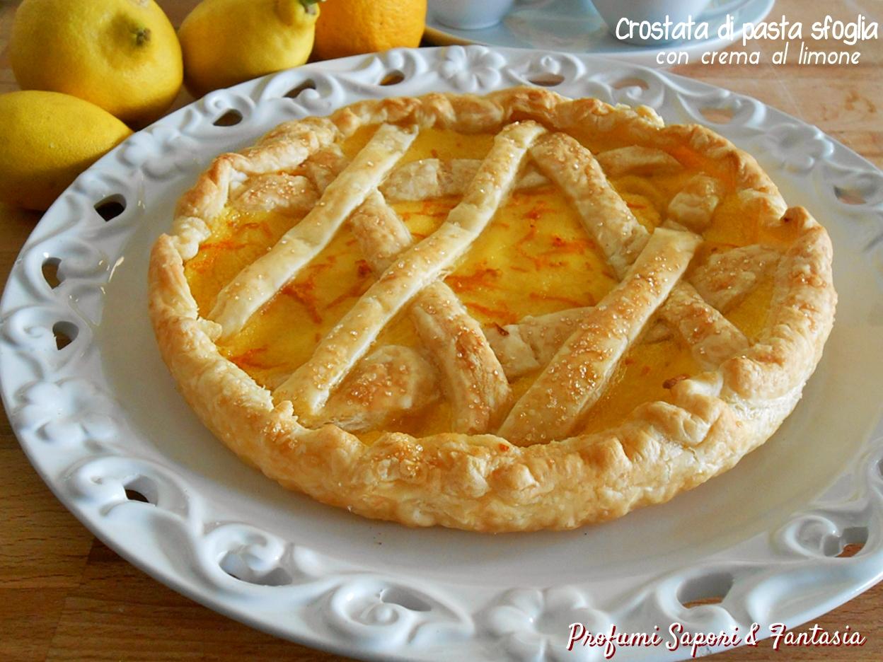 Crostata di pasta sfoglia con crema al limone