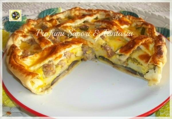 Torta salata di melanzane e zucchine con patate e salsiccia Blog Profumi Sapori & Fantasia