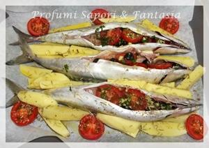 Sgombri al forno ricetta, con patate pomodorini e olive nere Blog Profumi Sapori & Fantasia