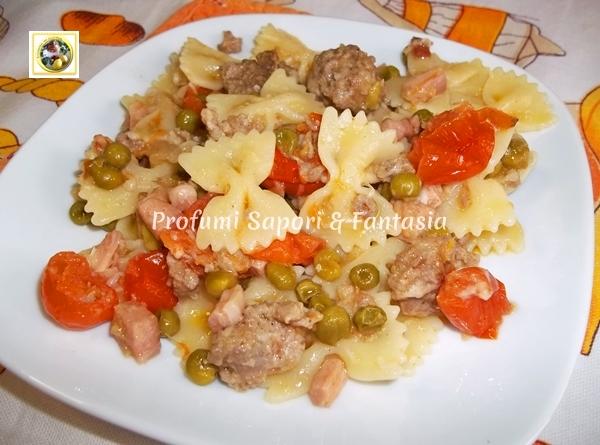 Farfalle ricetta con pomodorini salsiccia e piselli  Blog Profumi Sapori & Fantasia