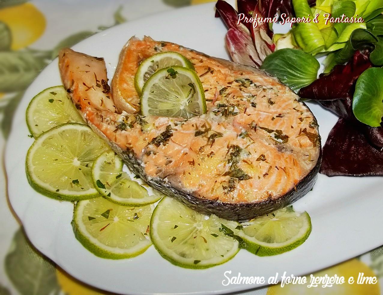 Salmone al forno zenzero e lime   Profumi Sapori & Fantasia