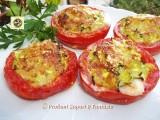 Pomodori gratinati al forno con zucchine e mozzarella